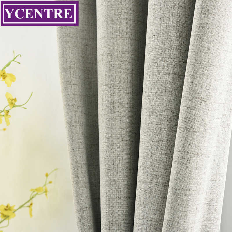 YCENTRE Fireproofing Blackout Home Decor Curtain For Living room Darpe Faux linen Curtains for Bedroom Rideaux Window Customized