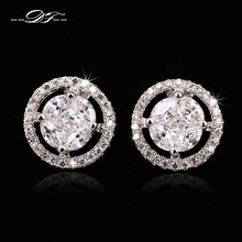 Buy Vintage Micro Pave Crystal Party Stud Earrings Rose Gold/Silver Color Cubic Zirconia Wedding Jewelry Women DFE670-M for $8.49 in AliExpress store