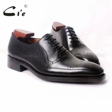 cie Free Shipping Square Toe Handmade Genuine Calf Leather Breathable Men's Oxford Dress Shoe Color Black OX190 Goodyear Welted(China)