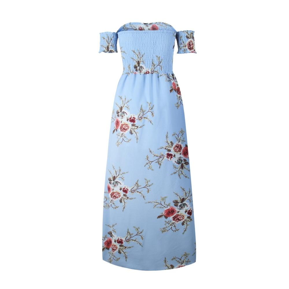 LOSSKY Off Shoulder Vintage Print Maxi Summer Dress 6