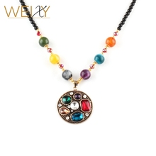 2017 Retro national wind elegant high quality acrylic necklace round rope chain necklace factory direct fashion jewelry(China)