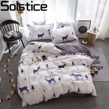 Solstice Textiles Stylish Simplicity Christmas Elk Striped Cartoon 3/4pcs Bedding Sets Contain Duvet Cover Bed Sheet Pillowcase(China)