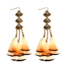 Buy Charm Fan-shaped Long Tassel Feather Drop Earrings Ethnic Bohemia Boho Dangle Earrings Women Holilday Jewelry Gift for $1.39 in AliExpress store