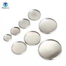 MINGXUAN 20pcs Stainless Steel Round Settings Cabochon Base Bezel Trays Blank Fit 8/10/12/14/16/18/20/25mm Cabochons Cameo DIY(China)