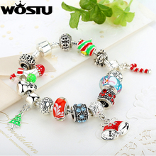 HOT Sale 925 Silver Fit Bracelet With DIY Christmas Charm High Quality Murano Bead For Women Jewelry Gift XCH1805