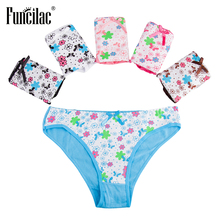 Buy FUNCILAC Women's Underwear Girls Print Underpants Sexy Ladies Panties Briefs Women Fashion Floral Female Underwear 5Pcs/Lot