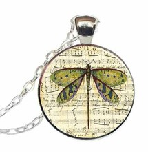 2017 New Trendy Dragonfly Sheet Music Pendant Round Picture Jewelry Glass Dome Photo Necklace Silver Link Chains