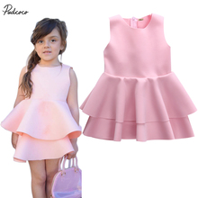 Babies Girl Sleeveless Vacuum Cotton Layered Gown Formal Party Bridesmaid DressesSummer Pink Kids Baby Girls Dress 3-10Y
