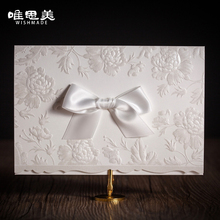 Wishmade Classic Embossed Shiny Flowers Giant Tie Wedding Invitations Elegant Laser Cut Invite Cards with Ribbon Bow CW5199
