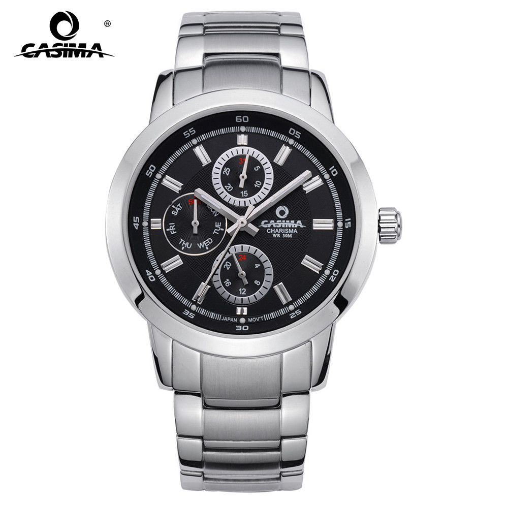 CASIMA business casual  stainless steel multifunction three eyes watches for men calendar waterproof 5105<br>