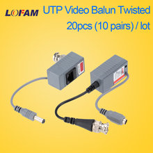 LOFAM 20pcs 10Pairs Video Balun Transceiver BNC UTP RJ45 With Video And Power Over CAT5/5E/6 Cable For HD CVI/TVI/AHD Camera DVR(China)