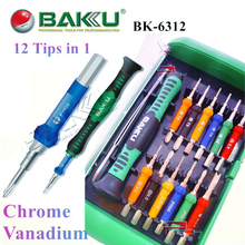 Precision Screwdriver Bit Set BAKU BK-6312 Professional Repair Tools for iPhone Cell Phone Laptop Opening Tool Kit 12 Bits in 1(China)