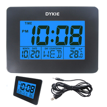 Digital Wall Alarm Clock with Date Week and Temperature Display- Snooze and Large Display- (Blue Backlight)- Battery Operated LC