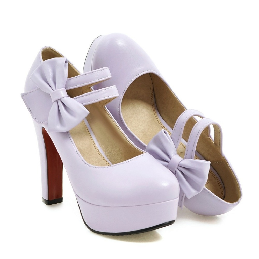 MORAZORA Fashion sweet high heels shoes 12cm shallow women pumps wedding shoes big size 34-47 platform shoes bowtie 11