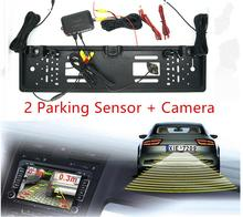 European EU Car License CCD Rear View Camera Plate Frame Parking Camera Two Reversing Radars Parking Sensors,Auto Backup System