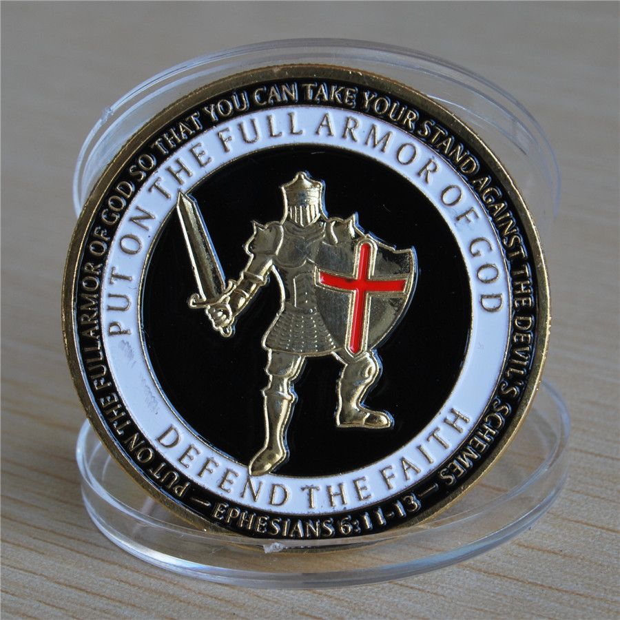 Armor of God Defend the Faith - Brass Challenge Coin (12)