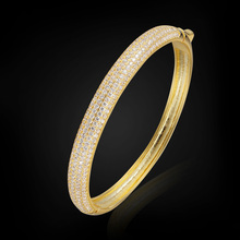 Blucome Luxury Zircon Bangles Jewelry Wholesale New Trendy Round Cubic Zirconia Bangle Bracelet Women Summer Style Accessories