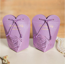 PASAYIONE European Candy Box With Diamond Decorating Delicate Carved Flower Sweet Candy Bags Paper Casamento Wedding Favors Gift