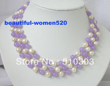 3 strands White Pearl Malay Stone Beads Necklace(China)