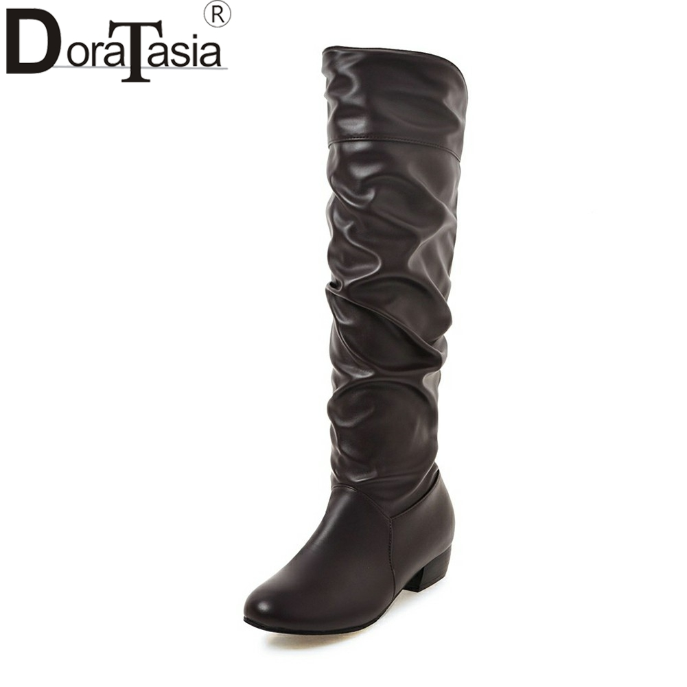 DORATASIA 2018 Large Size 34-48 Pointed Toe Chunky Heels Winter Boots Shoes Woman Short Boots Party Black White Booties