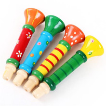 Toy Musical Instrumen Multi-Color Baby kids Wooden Horn Hooter Trumpet Instruments Music Toys Best-seller Toy For Kids Children(China)