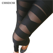 Ripped Cut-out Bandage Black Woman Lady Leggings trousers Sexy Free Shipping W3153