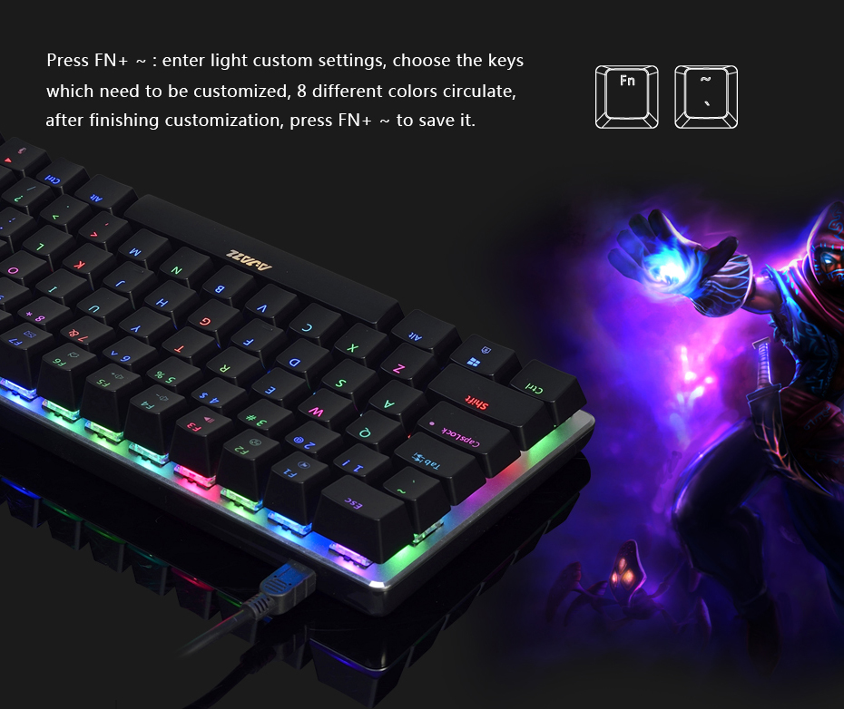 Ajazz AK33 gaming keyboard 82 keys RussianEnglish RGB backlight ergonomic wiredwireless mechanical keyboard conflict-free  (12)