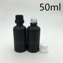 Free Shipping 200pcs 50ML Black Frosted Glass Bottle 50ml Vials Essential Oil Bottle with tamper evident cap Perfume bottles