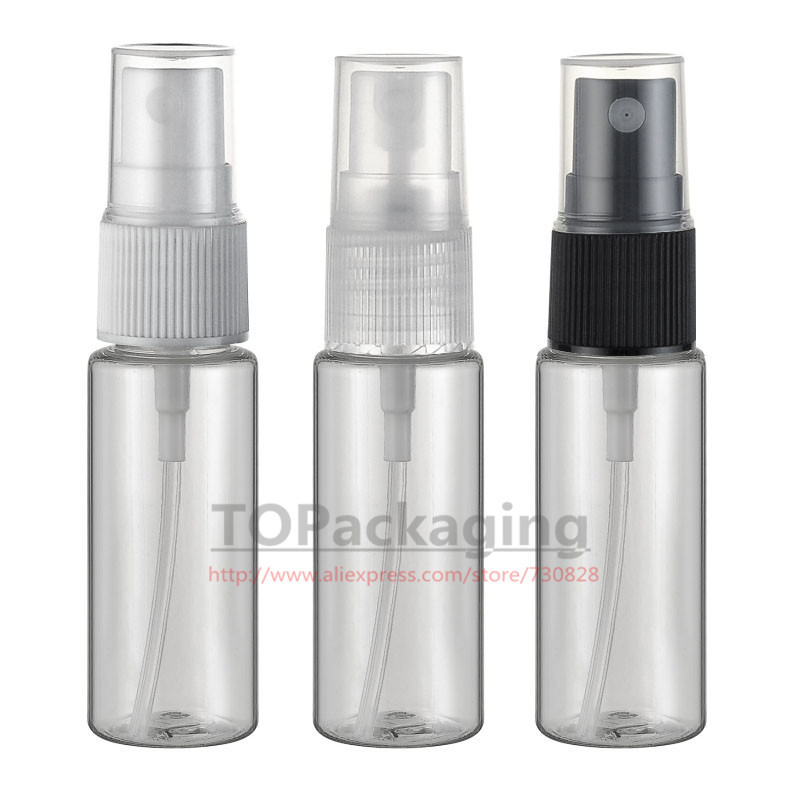 100PCS/LOT-20ML Spray Pump Bottle,Transparent Plastic Cosmetic Container With Mist Atomizer,Small Perfume Vial,Empty Liquid Tube(China)