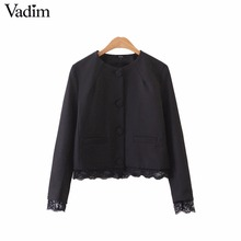 Vadim women lace patchwork black coat office lady work wear single breasted casual long sleeve pockets outerwear tops CT1450