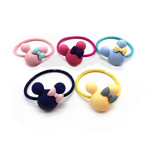 2Pcs Kids Hair Holders Cute Mickey Rabbit Flower Knot Bow Rubber Hair Band Elastic Accessories For Girl Scrunchy Gum Headbands(China)