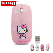 CHYI Wireless Mouse Sanrio Cartoon Japanese Super Slim Hello Kitty Mice Optical Ergonomic 2.4Ghz 1600DPI Ajustable For PC Laptop(China)