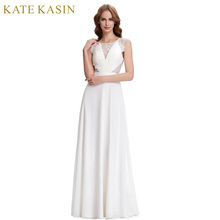 Kate Kasin White Evening Dresses Long Chiffon Prom Dress 2017 Sexy Lace Dress Formal Evening Gowns for Party Robes de Soiree