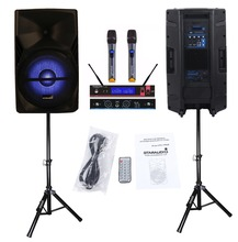 "STARAUDIO SPS-15RGB Pair 15"" 3500W PA DJ Stage Power Active MP3 SD FM RGB BT Karaoke Speakers W/ 2 Stands 2CH UHF Handheld Mic(China)"