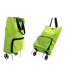 Folding Oxford Cloth Wheel Trolley Bag Green Mom Travel Shopping Bags Grocery Tote Handbag Quality(China)
