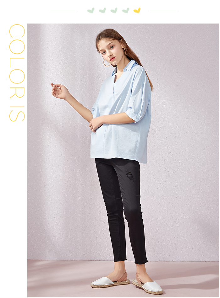 SEMIR Short sleeve white shirt women summer 19 new lapel V-neck shirt simple solid color students fresh relaxed blouse 11