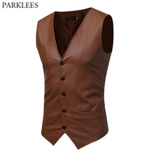 Men's Business Solid PU Leather Suit Vest Men 2018 Spring New Slim Fit Sleeveless Waistcoat Mens Stage Colete Social Masculino(China)