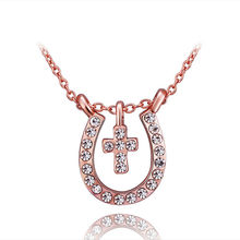 Rose Gold-Color Necklaces Pendants CZ Jewelry Floating Lockets Cameo Bijouterie Pingente Necklace Men Women N727(China)