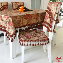 High quality customization tablecloths European style velvet flowers printing table mats chair covers sets