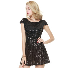 The new summer fashion sexy club racerback waist paillette a-line dress female short-sleeve dress slim free shipping(China)