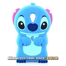 For Wiko Robby Case 3D cute Cartoon Soft Rubber silicon Stitch Case Folding of the Ear(China)