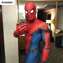 Aubalee Costume Adult Suit Zentai Movie Spiderman Cosplay Homecoming Spandex Superhero