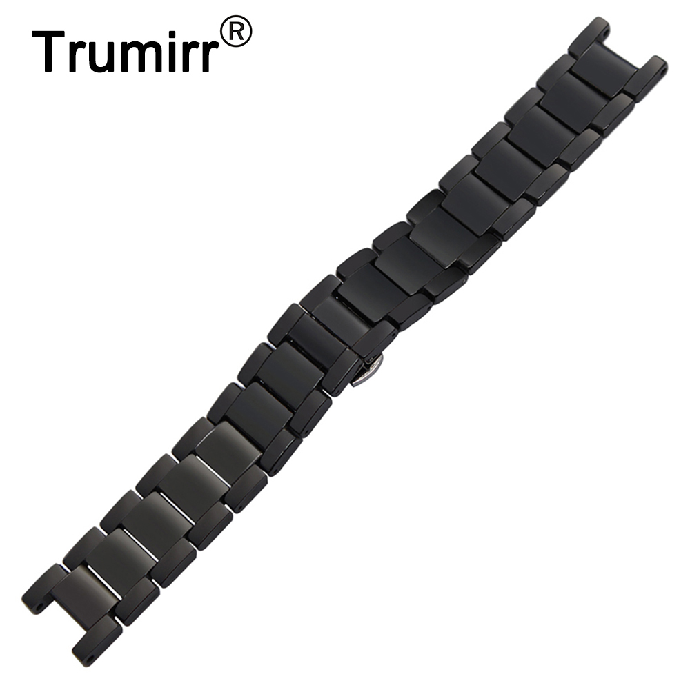 Ceramic Watchband 20mm x 12mm Notch Strap for Cartier Pasha Watch Band Steel Butterfly Buckle Belt Wrist Strap + Link Remover<br>