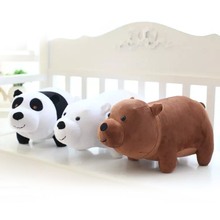 3pcs 25cm We Bare bears Cartoon Bear, grizzly gray white bear panda stuffed plush toy doll, doll birthday gift,kids toy(China)