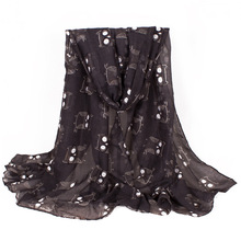 [Visual Axles] 2017 Women Scarves Animal Printing Black Cutly Cartoon Owl Scarf