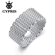 11.11 Super Deal Free Shipping Wholesale silver Ring,Fashion Jewelry,Mesh Ring factory store full size top quality CYPRIS Fine(China)