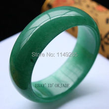 christmas gift Certified 100% Green Fashion Retro Female Natural Jade Bangle Bracelet 58-62mm(China)