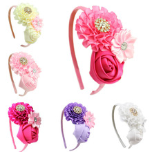 1 pieces new Baby Girl Ruffles pink Flower Hair flower band kids Headband Girl's Hair Accessories children accessories