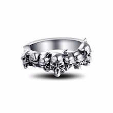 Graduation Pinky Cool Boho Silver Gothic Punk Skull Big Adjustable Rotating Bikers Motorcycle Rings Men's&Boys' Jewelry(China)