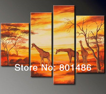 Free shipping! Beautiful handpainted giraffe oil painting large orange african landscape canvas art for Wall 4 panel(China)